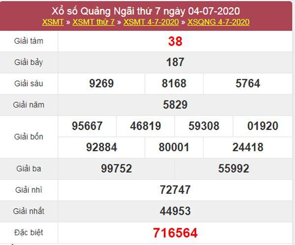 Soi cầu XSQNG 11/7/2020 chốt lô số đẹp Quảng Ngãi thứ 7