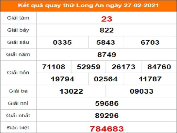 Quay thử kết quả xổ số tỉnh Long An ngày 27/2/2021