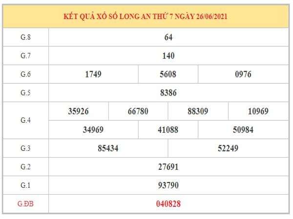 Dự đoán XSLA ngày 3/7/2021 dựa trên kết quả kì trước